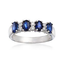 1.30 ct. t.w. Sapphire and .15 ct. t.w. Diamond Ring in 14kt White Gold, , default