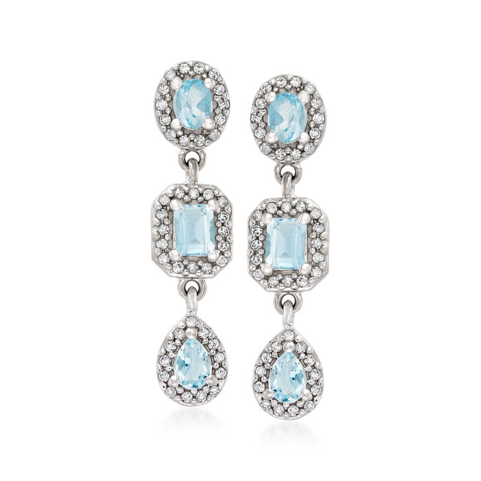 1.00 ct. t.w. Aquamarine and .34 ct. t.w. Diamond Halo Drop Earrings in 14kt White Gold