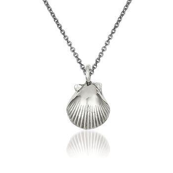 "14kt White Gold Seashell Pendant Necklace. 18"", , default"