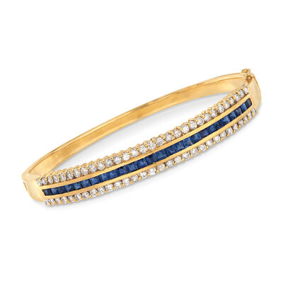 C. 1980 Vintage 2.00 ct. t.w. Sapphire and 1.80 ct. t.w. Diamond Bangle Bracelet in 18kt Yellow Gold