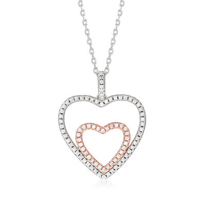 .40 ct. t.w. CZ Double-Heart Pendant Necklace in Sterling Silver with 18kt Rose Gold Over Sterling