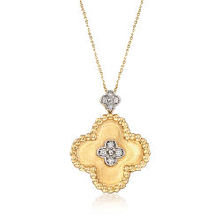 C. 1990 Vintage .30 ct. t.w. Diamond Clover Pendant Necklace in 14kt Yellow Gold, , default
