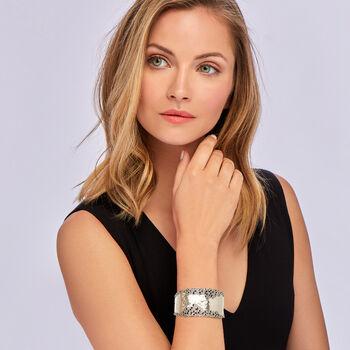 "Sterling Silver Hammered and Polished Filigree Edge Wide Cuff Bangle Bracelet. 7.5"""