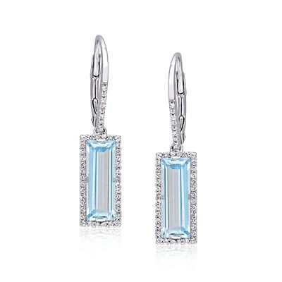 5.75 ct. t.w. Baguette Sky Blue Topaz and .70 ct. t.w. White Sapphire Drop Earrings in Sterling Silver, , default