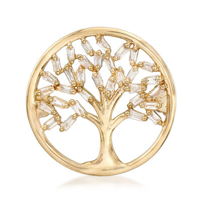 .22 ct. t.w. Baguette Diamond Tree of Life Circle Pin in 14kt Yellow Gold