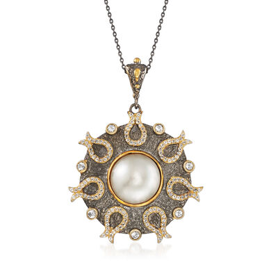 15mm Cultured Mabe Pearl and 1.70 ct. t.w. White Topaz Pendant Necklace in Sterling Silver and 18kt Gold Over Sterling