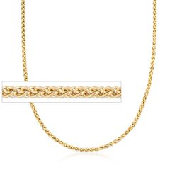 2.8mm 14kt Yellow Gold Wheat Chain Necklace, , default