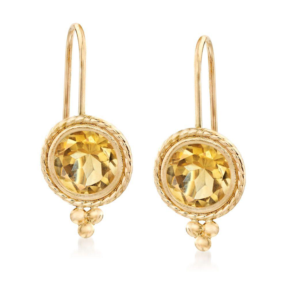 T W Citrine Drop Earrings In 14kt Yellow Gold Default