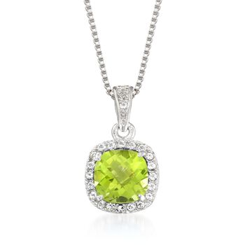 1.00 Carat Peridot and .10 ct. t.w. White Topaz Pendant Necklace Sterling Silver, , default