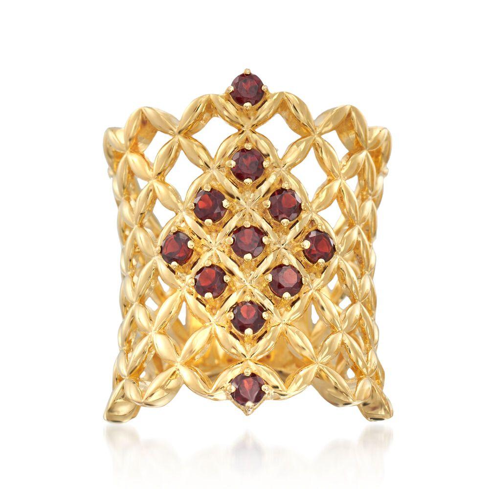 80 ct  t w  Burgundy Garnet Latticework Ring in 18kt Gold Over Sterling