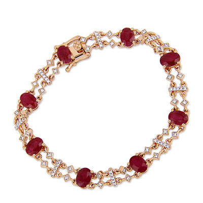 8.40 ct. t.w. Ruby and .18 ct. t.w. Diamond Station Bracelet in 14kt Rose Gold