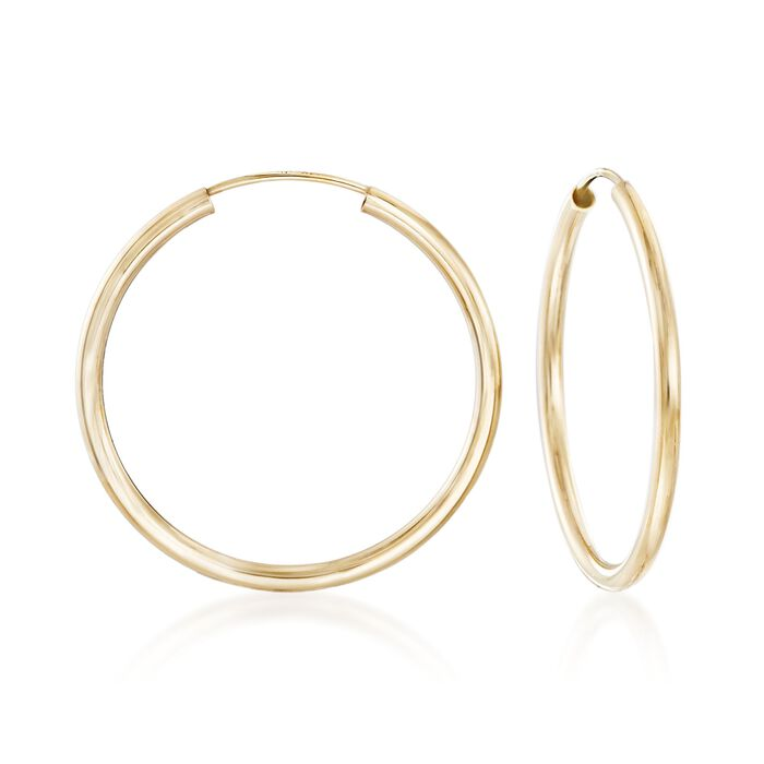 2mm 14kt Yellow Gold Endless Hoop Earrings. 1 1/8""