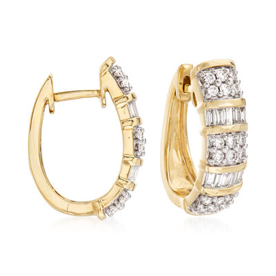 1.00 ct. t.w. Baguette and Round Diamond Hoop Earrings in 14kt Yellow Gold, , default