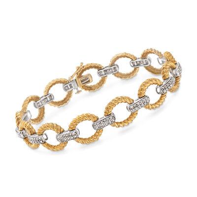 C. 1980 Vintage 1.25 ct. t.w. Diamond Link Bracelet in 14kt Two-Tone Gold , , default