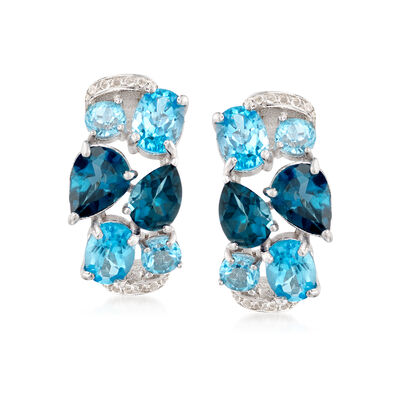 9.10 ct. t.w. Blue and White Topaz Mosaic Earrings in Sterling Silver, , default
