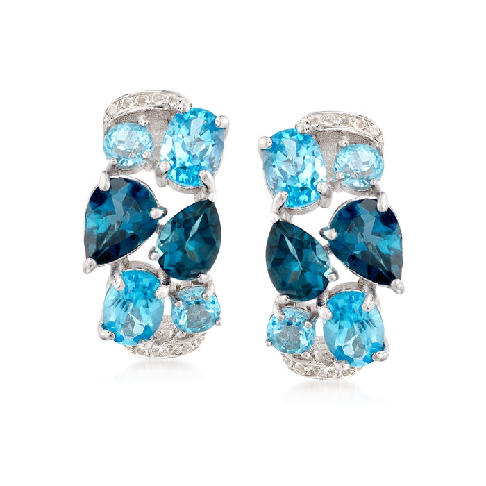 """9.10 ct. t.w. Blue and White Topaz Mosaic Earrings in Sterling Silver. 5/8"""", , default"""