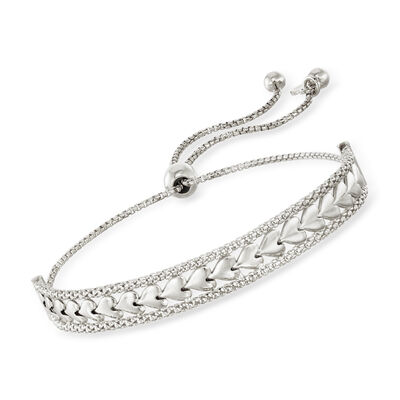 Italian Sterling Silver Heart Center Bolo Bracelet