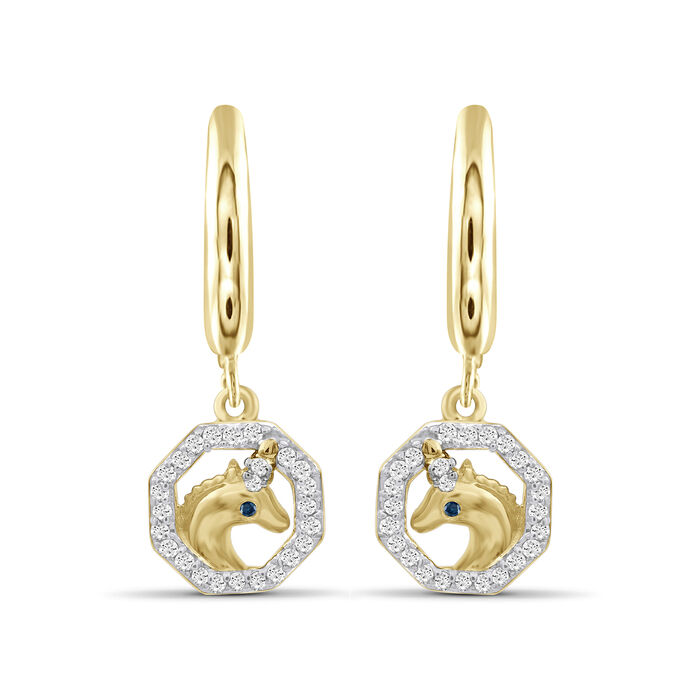.15 ct. t.w. Diamond Unicorn Drop Earrings in 18kt Yellow Gold Over Sterling Silver, , default