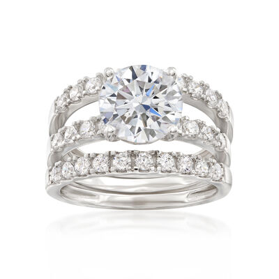 3.45 ct. t.w. CZ Bridal Set: Engagement and Wedding Rings in 14kt White Gold, , default