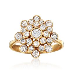 C. 1970 Vintage 1.20 ct. t.w. Diamond Cluster Ring in 18kt Yellow Gold. Size 8, , default