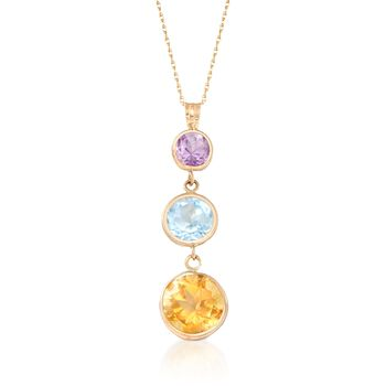 """7.10 ct. t.w. Multi-Stone Pendant Necklace in 14kt Yellow Gold. 18"""", , default"""
