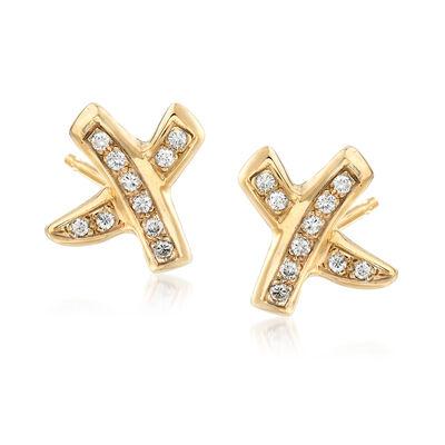C. 1990 Vintage .75 ct. t.w. Diamond X Earrings in 14kt Yellow Gold, , default