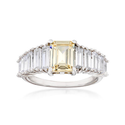 3.10 ct. t.w. White and Yellow CZ Ring in Sterling Silver, , default