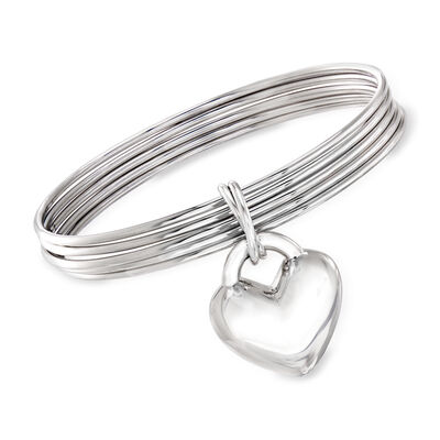 Italian Sterling Silver Jewelry Set: Five Bangle Bracelets with Heart Charm, , default