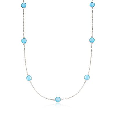 Blue Chalcedony Station Necklace in Sterling Silver, , default