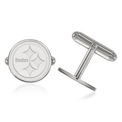 Sterling Silver NFL Pittsburgh Steelers Cuff Links, , default