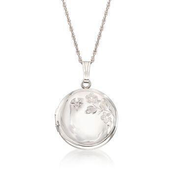 Sterling Silver Round Floral Locket Pendant Necklace With Diamond Accent, , default
