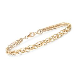 18kt Yellow Gold Textured and Polished Multi-Link Bracelet, , default