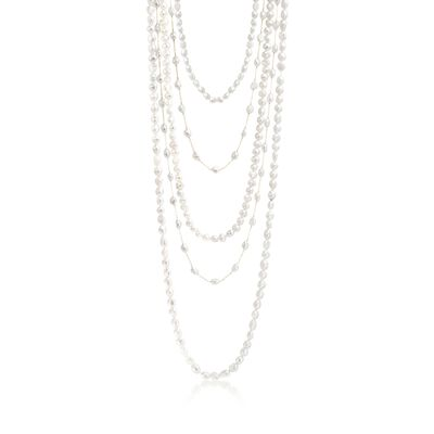 7-10mm Cultured Pearl Jewelry Set: Five Endless Necklaces with 14kt Yellow Gold, , default