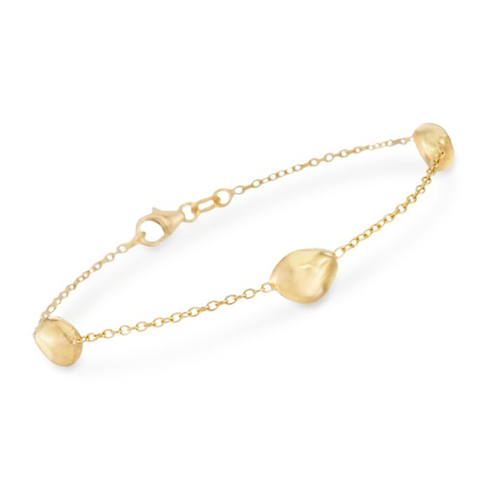 "Italian 18kt Yellow Gold Pebble Station Bracelet. 7"", , default"