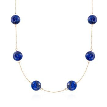"11.5-12mm Lapis Bead Station Necklace in 14kt Yellow Gold. 18"", , default"