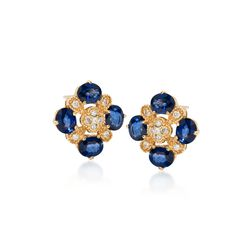 3.10 ct. t.w. Sapphire and .25 ct. t.w. Diamond Clover Earrings in 14kt Yellow Gold, , default