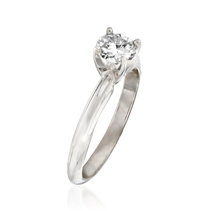 C. 2000 Vintage .55 Carat Certified Diamond Solitaire Ring in 14kt White Gold