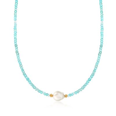11-12mm Cultured Pearl and 50.00 ct. t.w. Apatite Bead Necklace in 18kt Gold Over Sterling, , default