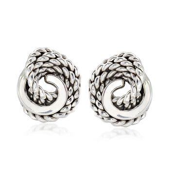 Sterling Silver Roped Knot Earrings, , default
