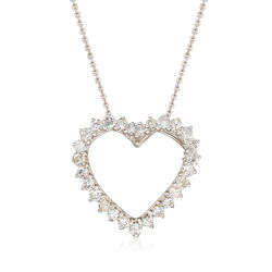 C. 1980 Vintage 2.70 ct. t.w. Diamond Heart Pin Pendant in 14kt White Gold, , default