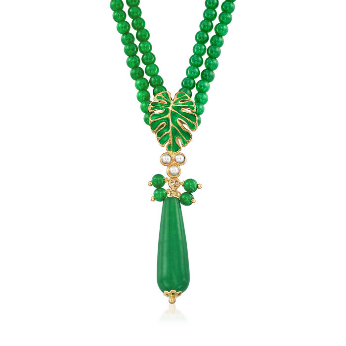 Italian 150.00 ct. t.w. Green Quartz Double-Strand Necklace with Pearls in 18kt Gold Over Sterling, , default