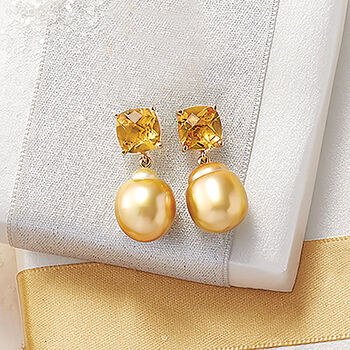 Cultured South Sea Pearl and 6.00 ct. t.w. Citrine Drop Earrings in 14kt Yellow Gold