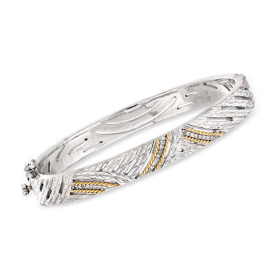 "Andrea Candela ""Arco Iris"" .12 ct. t.w. Diamond Bangle Bracelet in Sterling Silver and 18kt Yellow Gold"