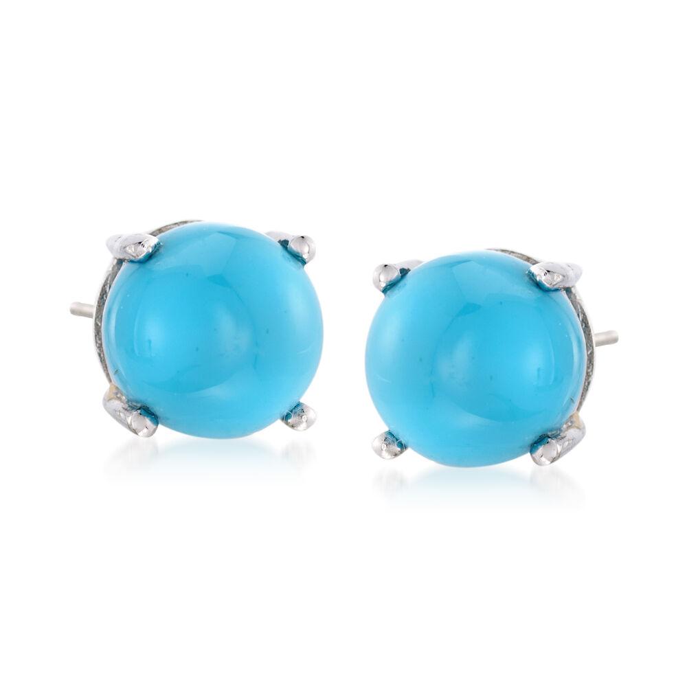 8mm Turquoise Stud Earrings In Sterling Silver Default