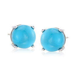 8mm Turquoise Stud Earrings in Sterling Silver, , default
