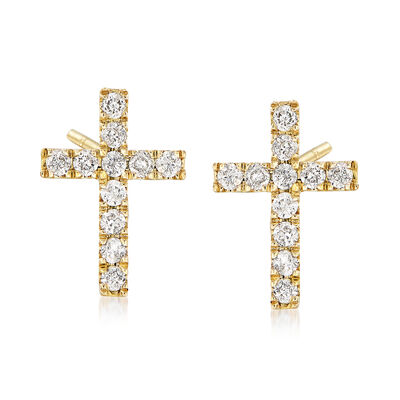 .33 ct. t.w. Diamond Cross Earrings in 14kt Yellow Gold