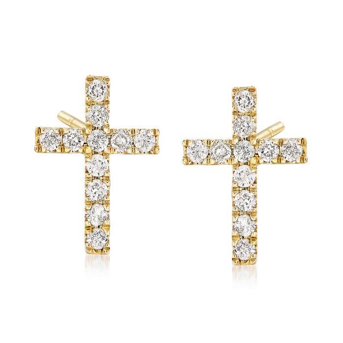 .33 ct. t.w. Diamond Cross Earrings in 14kt Yellow Gold