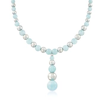 """86.75 ct. t.w. Aquamarine Beaded Y-Necklace in Sterling Silver. 18"""", , default"""