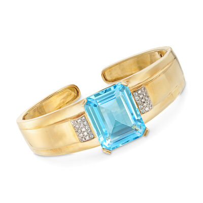 30.00 Carat Blue Topaz and .59 ct. t.w. Diamond Bangle Bracelet in 14kt Yellow Gold, , default