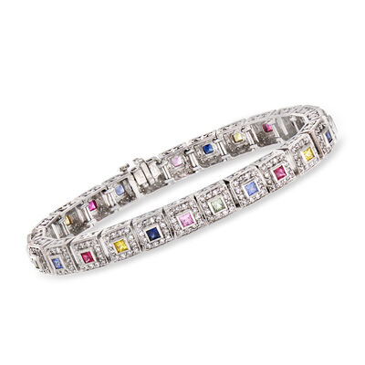 C. 1990 Vintage 4.00 ct. t.w. Diamond, 1.60 ct. t.w. Multicolored Sapphire and .32 ct. t.w. Ruby Bracelet in 14kt White Gold, , default